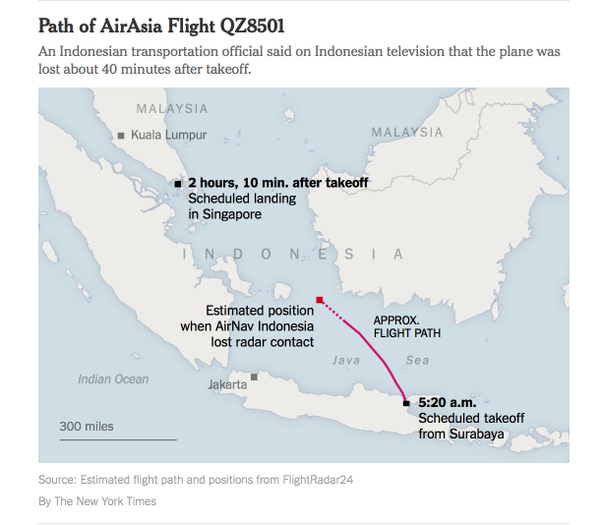 #QZ8501 route new york times
