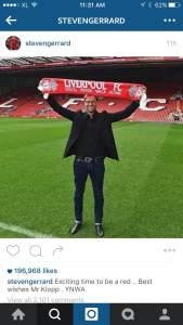 Steven Gerrard melalui akun instagramnya, menyampaikan kesannya atas terpilihnya Jurgen Klopp sebagai manager LFC.